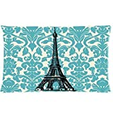 "Teal Turquoise Damask Vintage French Floral Swirls With Paris Eiffel Tower Zippered Pillow Case Decor Pillow Covers Soft Rectangle Pillowcase 20""x 30"" Inch (Twin Sides)"