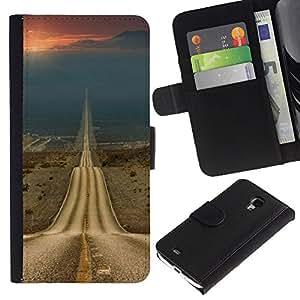 Billetera de Cuero Caso Titular de la tarjeta Carcasa Funda para Samsung Galaxy S4 Mini i9190 MINI VERSION! / Road Freedom Sunset Open Drive / STRONG