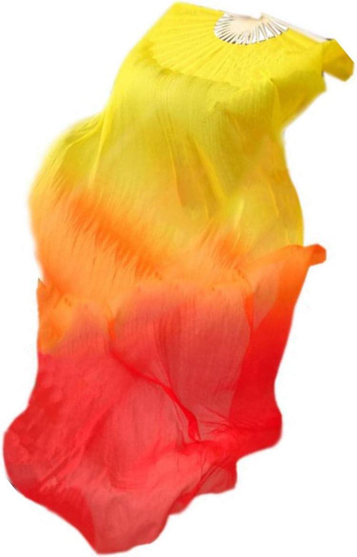 velo largo de bamb/ú 3 colores para danza JieGuanG Abanico de danza del vientre de seda real