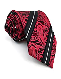Shlax&Wing Red Paisley Black Men's Tie Neckties Wedding Fashion Silk Extra Long