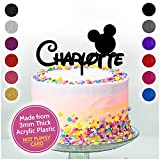 DISNEY THEMED Mickey Mouse Personalised ANY NAME Cake Topper Birthday Cake Kids - Choice of Colours - Solid Acrylic or Glitter Acrylic Available - PERSONALISE with ANY NAME