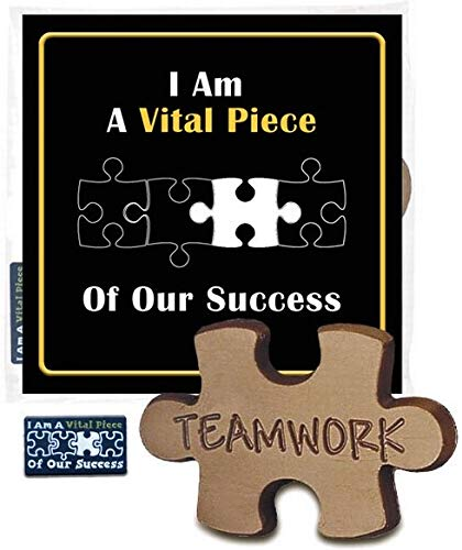 Vital Piece of Our Success Gift Pack (Sold in Sets of 12) Staff & Employee Appreciation Gifts - Lapel Pin, Puzzle Piece Chocolate & Card