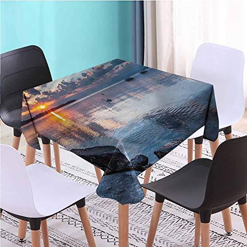 Zara Henry Design Landscape Fabric Square Tablecloth,Sun Rising at Lake Geneva Patio Dining Table Cloths, W52 x L52 Inch (Table Geneva Dining)