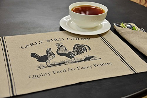 Rooster Toile Pillow - CWI Gifts GV31461 Chi Gifts Fancy Poultry Placemats, 12