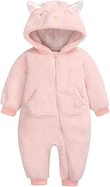 Infant Toddler Baby Girl Boy Cartoon Ears Hoodie Romper Coat Fleece Jumpsuit Top