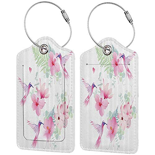 Waterproof luggage tag Floral Hummingbirds Tropical Flowers