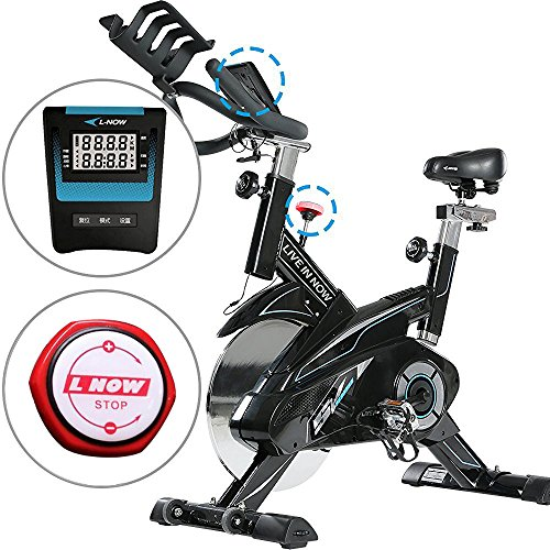 L NOW CycleFire LD-582 Health & Fitness Indoor Stationary Cycling Bike with Pulse for Aerobic and Cardio Exercise and Training White
