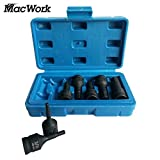 MacWork 7-Piece 3/8-Inch Allen Hex Driver Impact Socket Set, SAE 5/32 to 1/2in. Extended Length Cr-Mo Steel in Storage Case