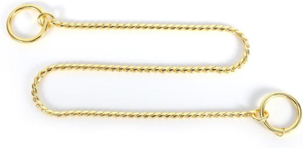 GLOGLOW 3 tamaños Cadena de Serpiente de Metal Dorado/Negro, Collar Trenzado Collares de Gargantilla de Entrenamiento de Perro Mascota para Perros pequeños medianos y Grandes(3mm*40cm- Oro)