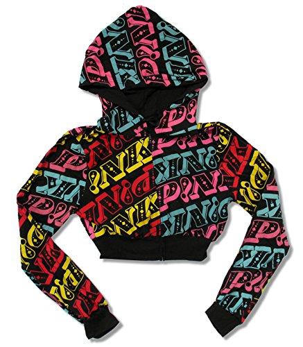 Juniors Pink All Over Cropped Black Zip Hoodie - Zip Juniors Hoodie
