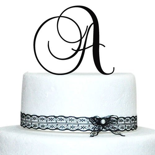 Price comparison product image Buythrow Custom - 5 Inch Monogram Acrylic Cake Topper in Any Letter a B C D E F G H I J K L M N O P Q R S T U V W X Y Z Silver