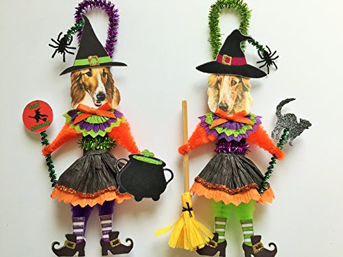 Borzoi HALLOWEEN WITCH ORNAMENTS Vintage Style Dog Chenille Ornaments Set of 2