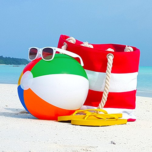 16 Rainbow Color Party Pack Inflatable Beach Balls - Beach Pool Party Toys (12 Pack)