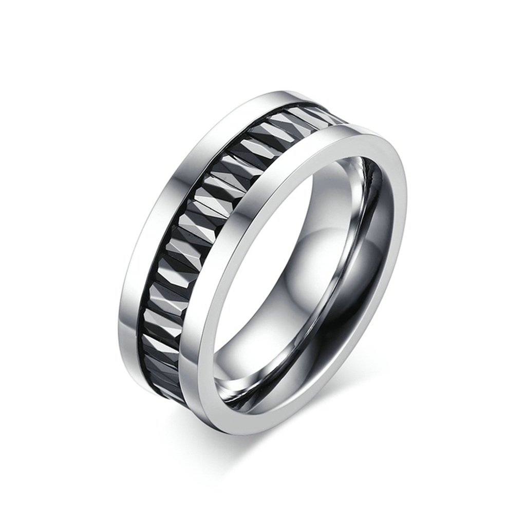 KnSam Men Stainless Steel Eternity Ring 7MM Black Crystal Channel Set All-Around Ring Silver