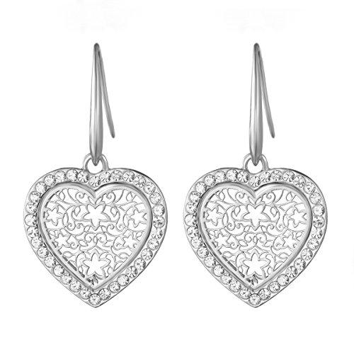Dangle Earring for Women Lucky Love Heart Drop Earring Novelty Shining Rhinestone Earring Hoop Earring with CZ Crystal (Silver Plated Love Heart) (Lucky Rhinestone Earrings)