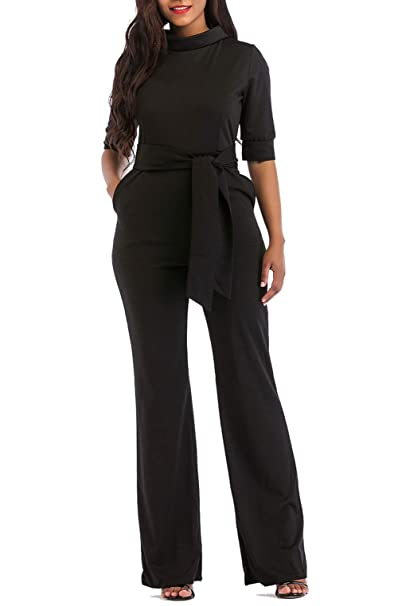 c828f959b03 KISSMODA Womens Elegant Wide Leg Work Jumpsuits Long Fitted Romper Pants  Half Sleeve with Belt (