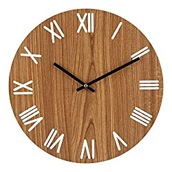 Vitaa 12 Inch Retro Wooden Wall Clock,Silent Non Ticking Decorative Wall Clock,Vintage Rustic Country Tuscan Style Round Wall Clock,Quartz Battery Operated(403)