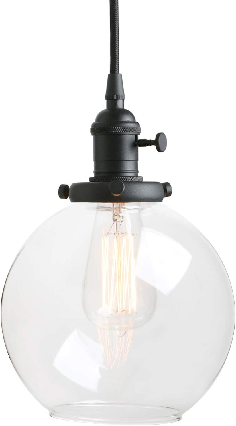 Amazon Com Pathson Black Pendant Light With Globe Round Glass Shade Metal Base Cap And Adjustable Textile Cord Industrial Style Retro Hanging Lamps For Dining Room Kitchen Island Home Improvement