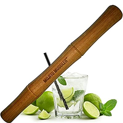 Mojito Muddler 11 Inch Professional-Grade Bamboo - Best Drinks and Cocktails Bar Tool; Won't Shred or Taint Like Plastic, Stainless Steel or Cheap Wooden Muddlers (Bartenders LOVE It)