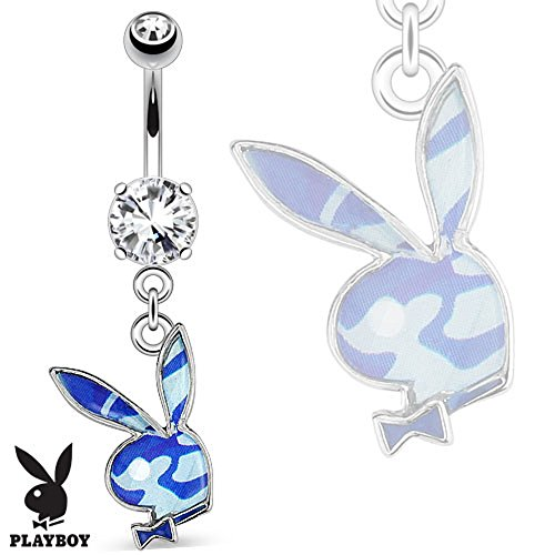 Body Accentz Belly Button Ring Playboy Bunny with Blue Camouflage Epoxy Dangle 316L Surgical Steel Navel Ring
