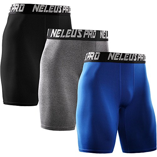Neleus Men's 3 Pack Athletic Compression Short,6028,Black,Grey,Blue,US XS,EU S