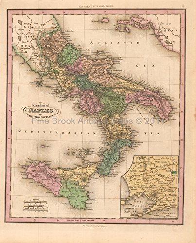 Decor Naples - Kingdom of Naples Antique Map Tanner 1836 Original Italian Decor History Anniversary Gift Ideas
