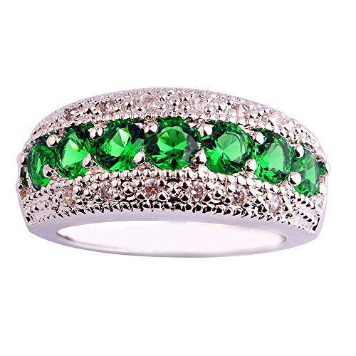Empsoul 925 Sterling Silver Natural Chic Filled Emerald Quartz & White Topaz Engagement Ring