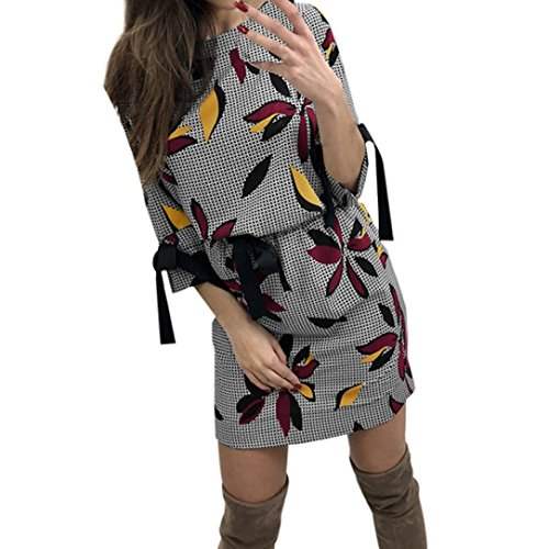 WYTong New Arrival, Women Floral Printed Long Sleeve Bodycon Mini Dress Evening Party Tunic Sheath Dresses