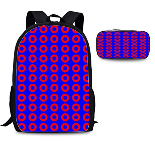 Casual Backpack Fashion Print Daily Bag Travel Bookpacks with pencil bag (Purple -