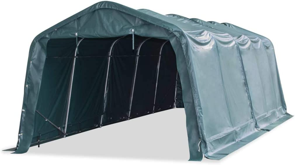 vidaXL Carpa para Ganado Desmontable Cobertizo Cenador Toldo Protección Refugio para Animales Caseta Exterior Aire Libre PVC Verde Oscuro 3,3x8 m