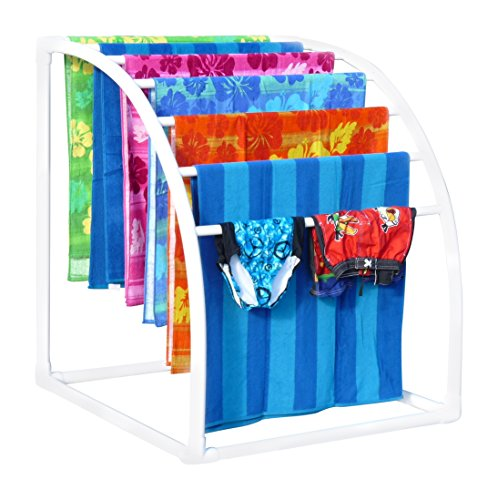 Beach Outdoor Bar - TowelMaid Curved 7 Bar Freestanding Outdoor Poolside Towel Rack