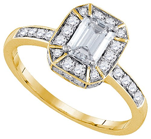 14kt Yellow Gold Womens Emerald Diamond Solitaire Bridal Wedding Engagement Ring 1.00 Cttw by JawaFashion