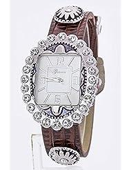 Karmas Canvas Crystal Dial Western Leather Fashion Watch