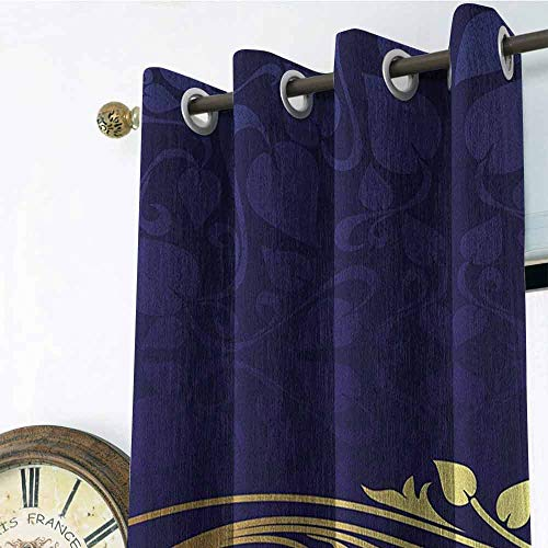 Navy Blue Gromets Curtain Decoration Living Room Drapes, Romantic Royal Leaf Pattern with Golden Colored Floral Branch with Leaves Household Darkening Curtains,Dark Blue and Gold, W120 x L108 Inches ()