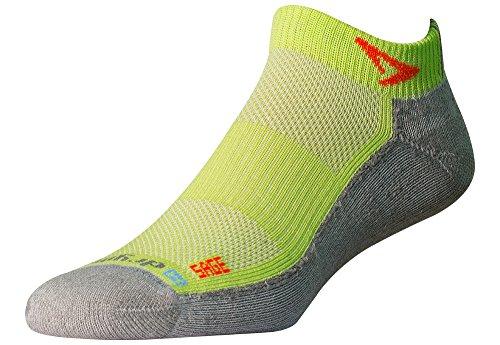 Drymax Sage Runner Trail Mini Crew Socks, Lime/Gray, Large (W10-12, M8.5-10.5)