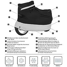 Velmia Motorrad Abdeckplane Outdoor & Indoor [Größe XL] Roller Abdeckplane wasserdicht, Winterfest – Motorradgarage lackschonend, atmungsaktiv & hitzebeständig für optimalen Schutz – TESTSIEGER 2019