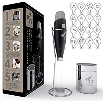 Electric Milk Frother Handheld Set with Stand Cocoa Shaker and 16 Coffee Art Stencils