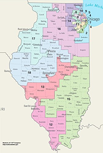 Home Comforts LAMINATED POSTER Map of Illinois Congressional Districts, 113th Congress POSTER PRINT 24 X 36