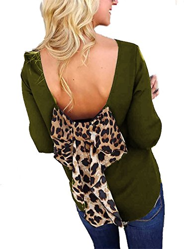 Leopard Olive - Shopglamla Bow Back Shift Solid Chiffon Bishop 3/4 Sleeves Scoop Neck Top Blouse Made in USA Leopard Olive S