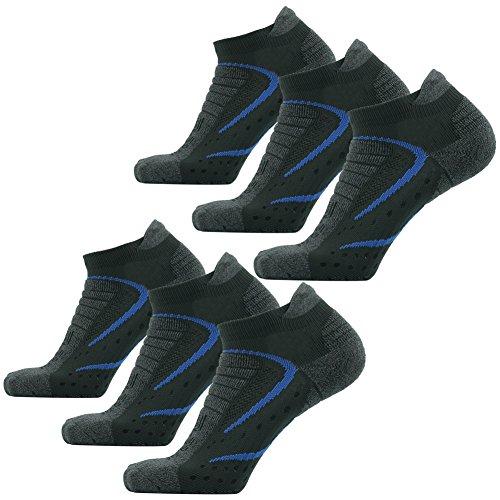 Facool Men's Dri-Tech Hiker/Runner/Jogger 6 Pairs Cushioning Sports Running Tennis Ankle Low Cut Stretch Socks Deep -