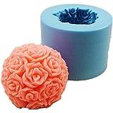 Allforhome stéréo bricolage Rose Handmade Soap Silicone Moules Bougie bricolage Mold;Taille Fini: 5.5 * 5.5 * 5.2 cm;Couleur: aléatoire (la plupart sont de couleur rose)