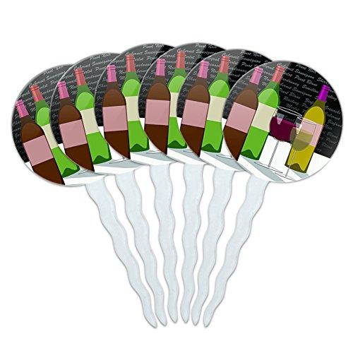 Set of 6 Cupcake Picks Toppers Decoration Celebration Party Shower - Wine Glasses and Bottles Merlot Shiraz ()