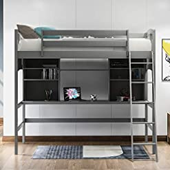 Bedroom Twin Loft Bed with Desk for Kids, Wood Bunk Beds with Desk, No Box Spring Needed (Grey Loft Bed with Desk) bunk beds