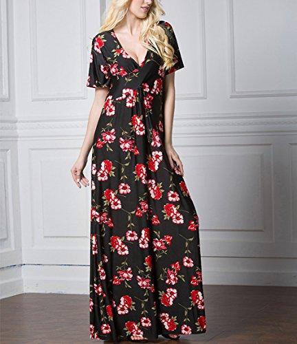 Damen Sommer Maxi V-Ausschnitt Kleider Boho Lose Strandabdeckung Kleid Bedruckte Color 1 7XL