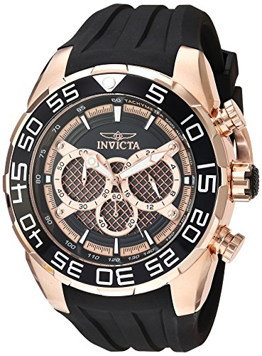 Invicta Men's Speedway Stainless Steel Quartz Watch with Silicone Strap, Black, 28.7 (Model: - Multifunction Gold Dial