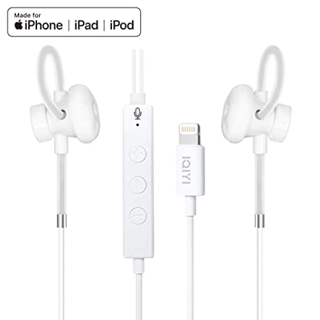 5a0596c9ebb [Apple MFi Certified] Lightning Headphones Earbuds Earphones with Mic  Volume Siri Control Compatible with