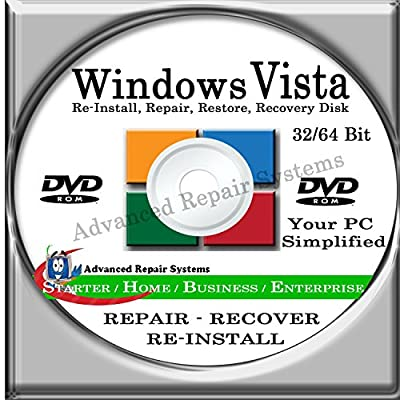 WINDOWS VISTA SYSTEM REPAIR & RE-INSTALL 32 Bit & 64 Bit BOOT DISK: Repair & Re-install any version of Windows VISTA Basic, Home, Premium and Business, Enterprise (Repair-Restore-Reinstall)