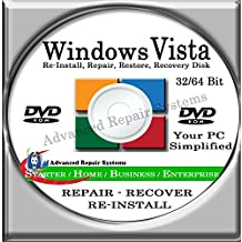 WINDOWS VISTA SYSTEM REPAIR & RE-INSTALL 32 Bit & 64 Bit BOOT DISK: Repair & Re-install any version of Windows VISTA Basic, Home, Premium and Business, Enterprise (Repair-Restore-Reinstall)