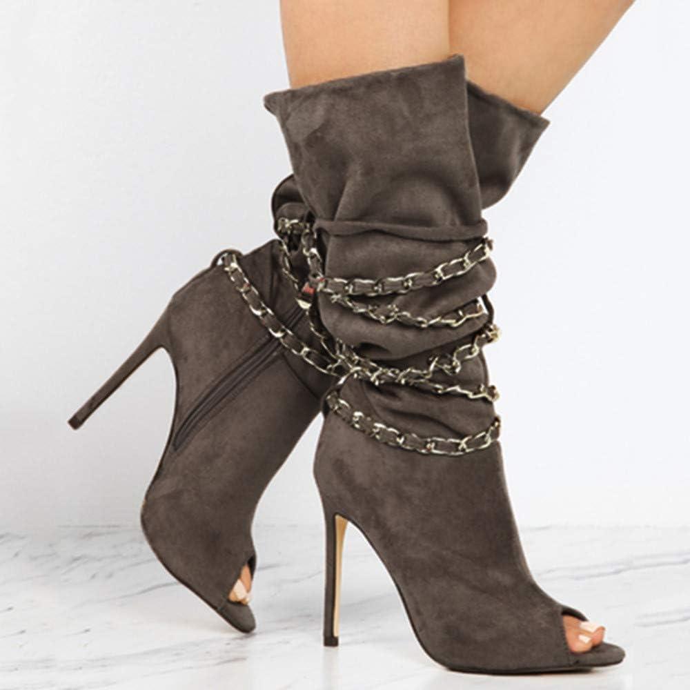CIELLTE Chaussures Bottines Femme Hiver Boots Bottes à Talon Huat Soirée Chaussures de Ville Bout Pointu Casual Chic Mode Party Club Kaki
