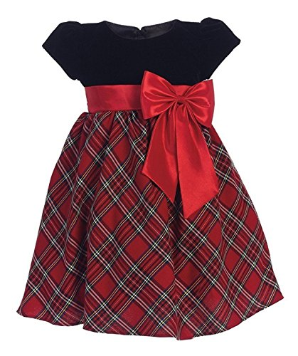 iGirlDress Baby Girls Red Black Velvet Plaid Holiday Fall Christmas Girls Dress 510 Size XL